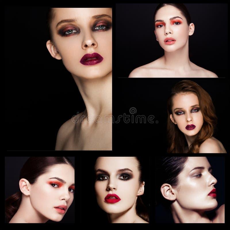 Modello rosso di trucco delle labbra degli occhi affumicati di bellezza del collage fotografia stock libera da diritti