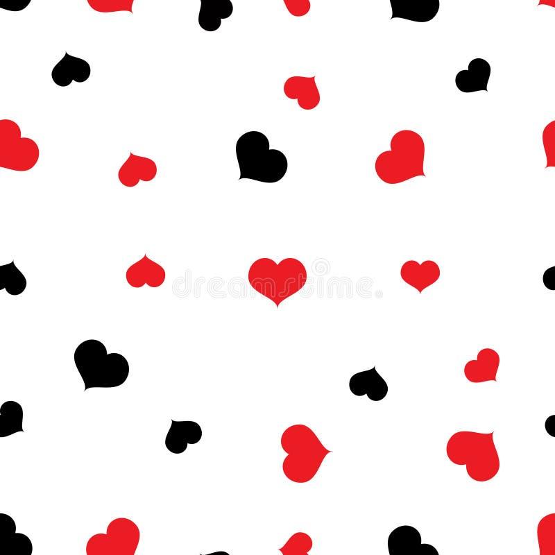 Modello rosso e nero senza cuciture dei cuori su fondo bianco illustrazione vettoriale