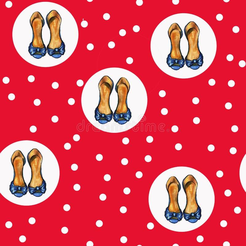 Modello rosso sveglio con i punti e le scarpe bianchi del tacco a spillo illustrazione di stock