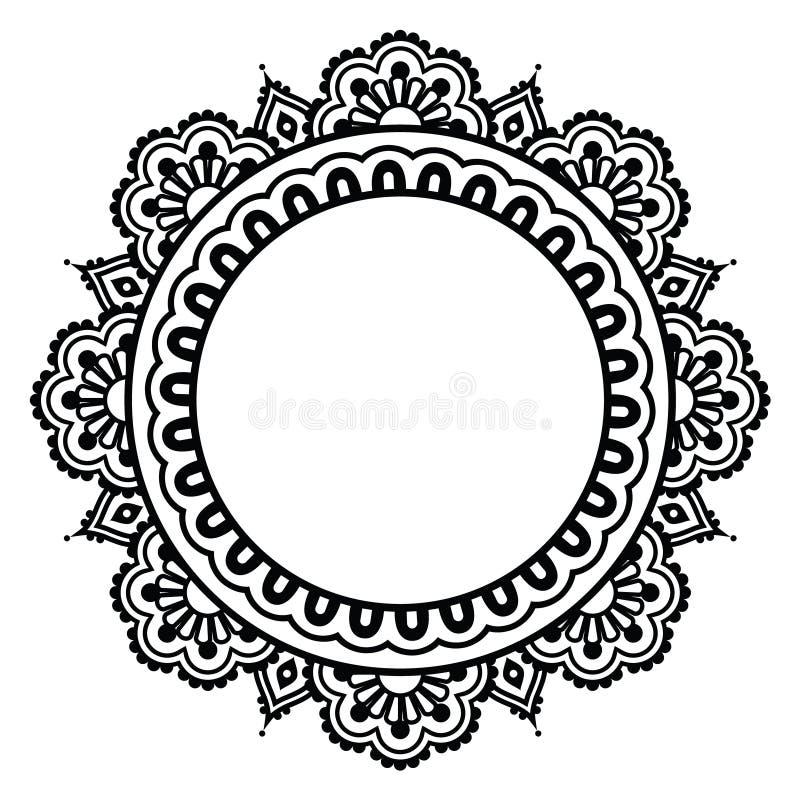 Modello rotondo del tatuaggio floreale indiano del hennè - Mehndi illustrazione di stock