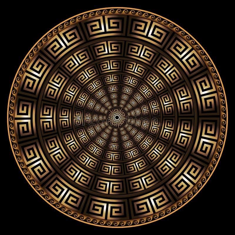 Modello rotondo della mandala di vettore greco geometrico moderno 3d Fondo astratto strutturato dell'ornamentale Struttura radial illustrazione di stock