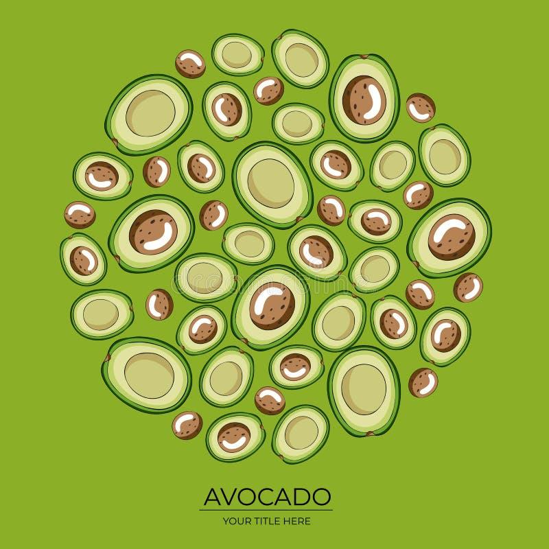 Modello rotondo delle metà verdi dell'avocado su un fondo verde illustrazione vettoriale