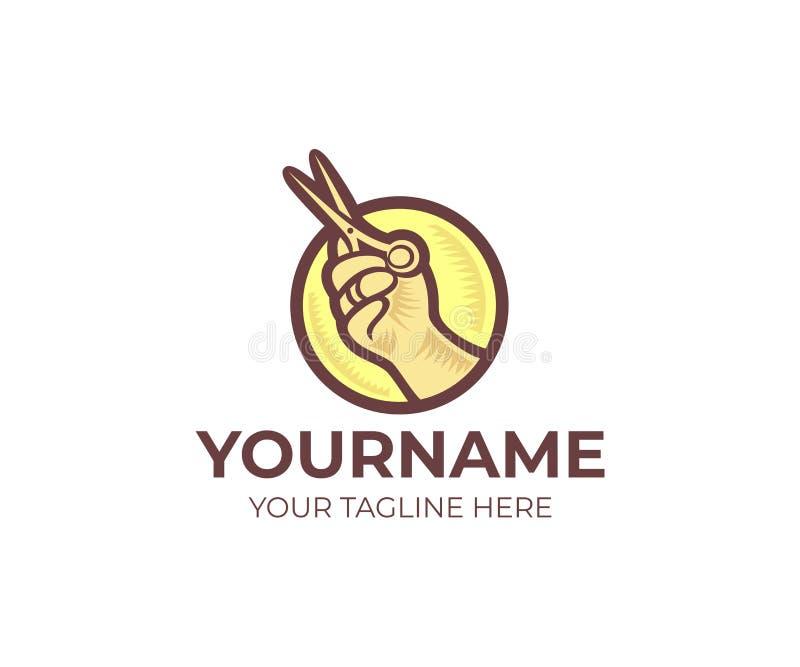 Modello rotondo di logo di forbici del negozio del parrucchiere e della tenuta della mano Il vettore del cerchio di forbici del n royalty illustrazione gratis