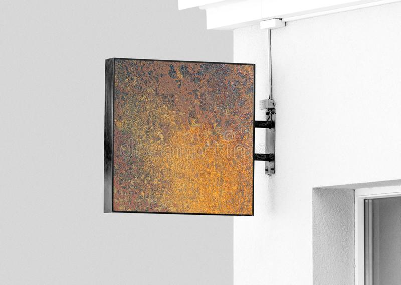 Modello rustico del segno della parete di attaccatura dello spazio in bianco con lo spazio della copia immagine stock libera da diritti
