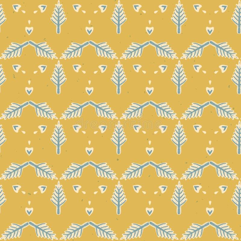 Modello rustico di Lino Cut Texture Seamless Vector dell'albero di abete di inverno, pino Forest Garland Block Print Style royalty illustrazione gratis