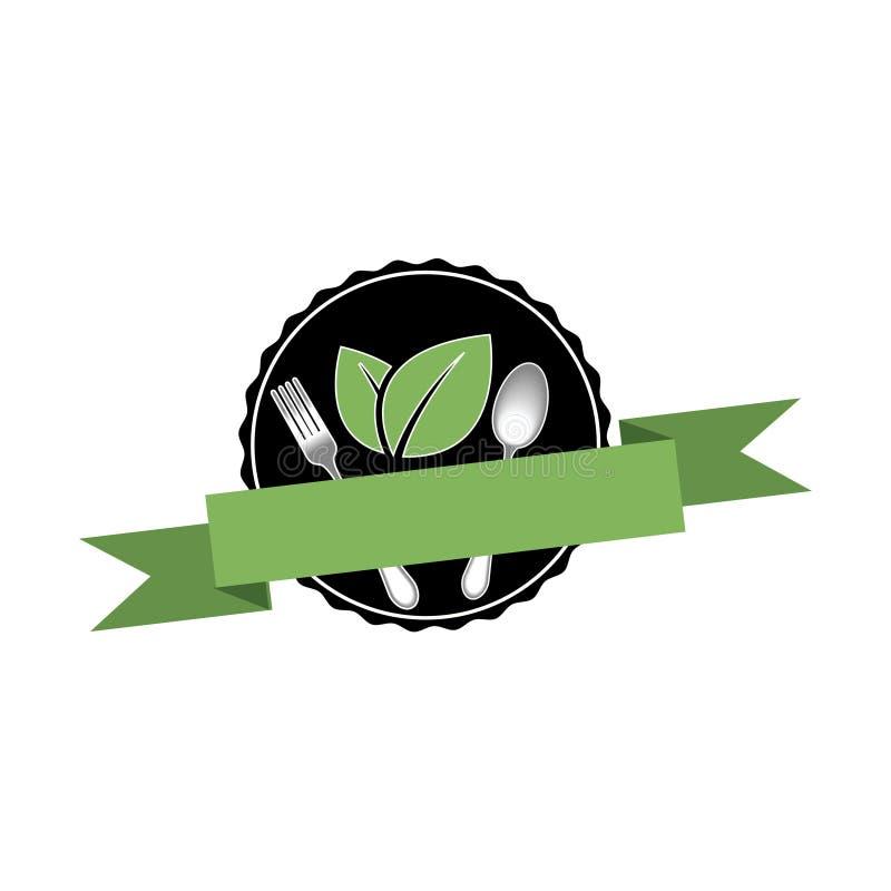 Modello sano organico di logo dell'alimento illustrazione di stock