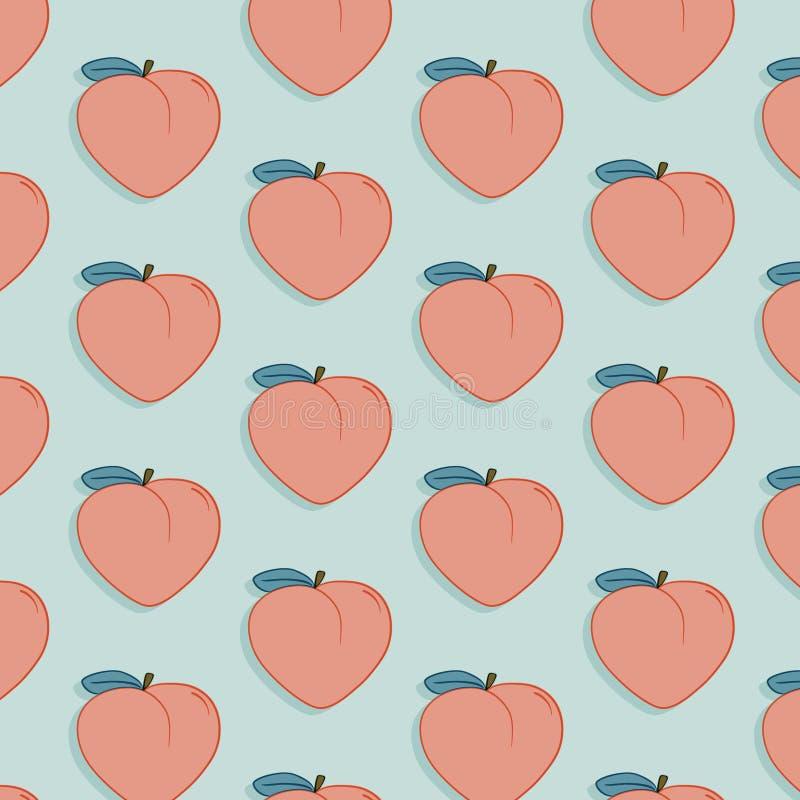 Modello saporito della frutta di vettore con la pesca Illustrazione esotica del disegno dell'alimento di modo Stampa moderna orga illustrazione di stock