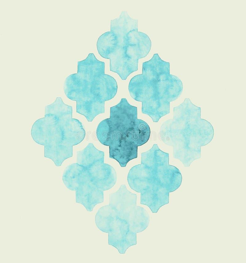 Modello sbiadentesi astratto del quatrefoil in tonalità del blu royalty illustrazione gratis