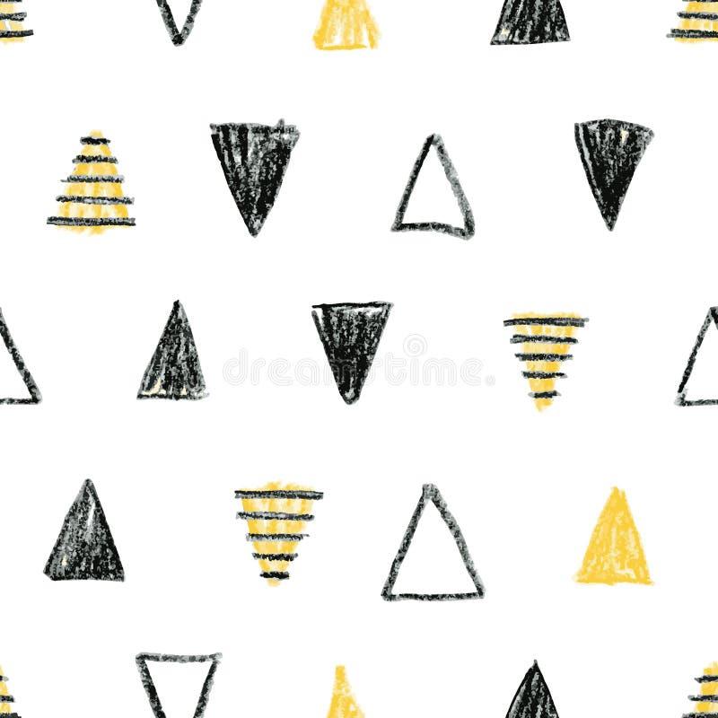 Modello scandinavo astratto con i triangoli neri e gialli illustrazione di stock