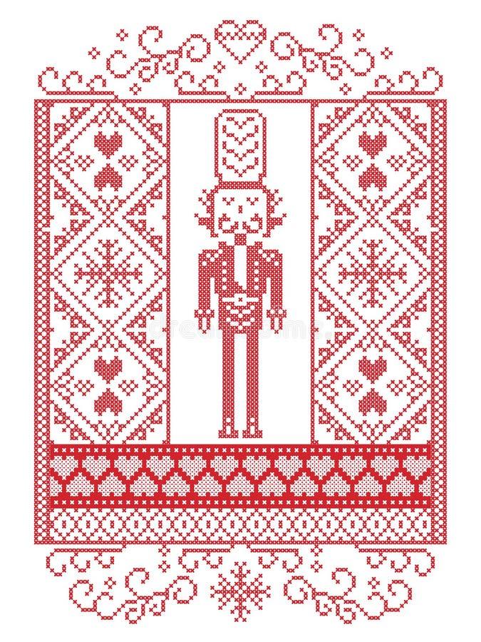 Modello scandinavo di Natale di vettore elegante nel modello nordico di inverno di stile compreso il soldato delle schiaccianoci, illustrazione vettoriale