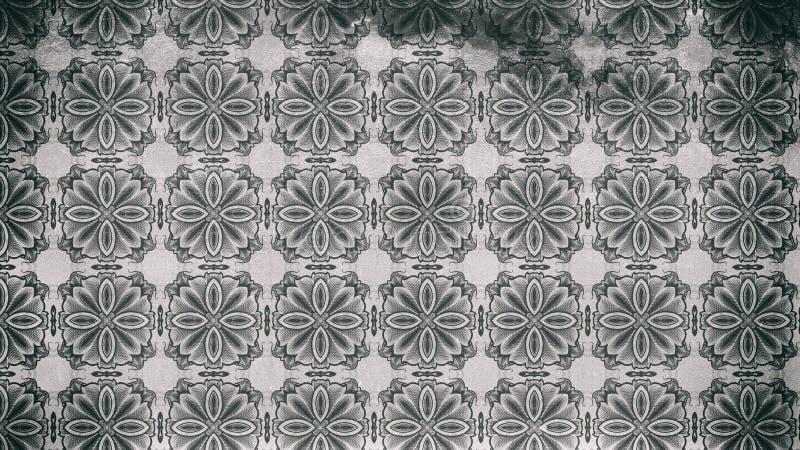Modello scuro di Gray Vintage Decorative Ornament Wallpaper royalty illustrazione gratis