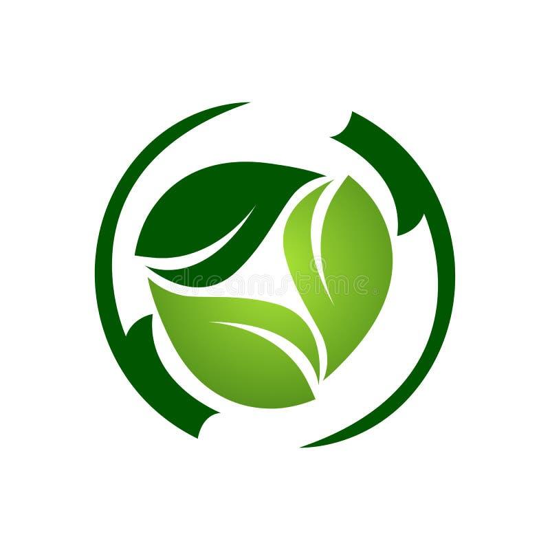 Modello scuro di logo della foglia della luce verde astratta del cerchio royalty illustrazione gratis