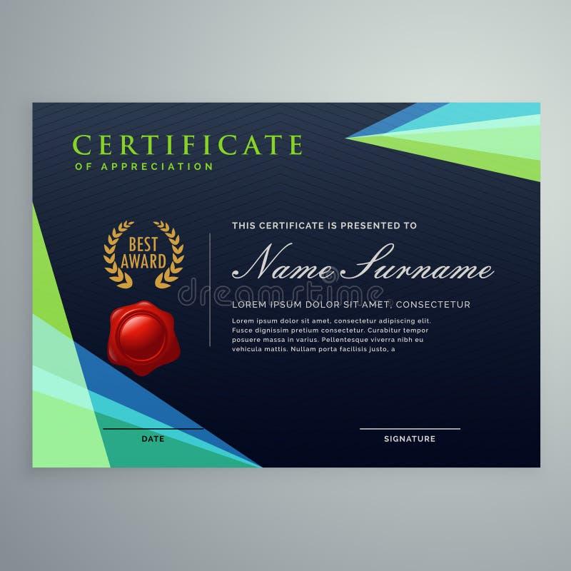 Modello scuro elegante di progettazione del certificato nello stile moderno illustrazione di stock