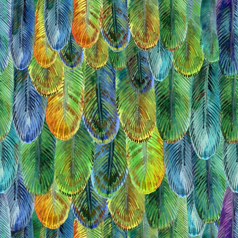Modello selvaggio dell'acquerello dell'ala dell'uccello, fondo senza cuciture della piuma illustrazione vettoriale