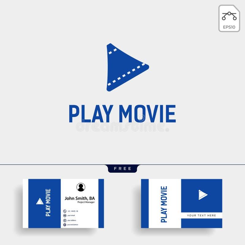 modello semplice di logo di film del cinema del tasto di riproduzione con l'illustrazione nera di vettore di colore illustrazione di stock