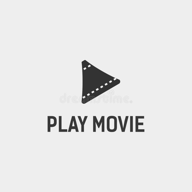 modello semplice di logo di film del cinema del tasto di riproduzione con l'illustrazione nera di vettore di colore royalty illustrazione gratis