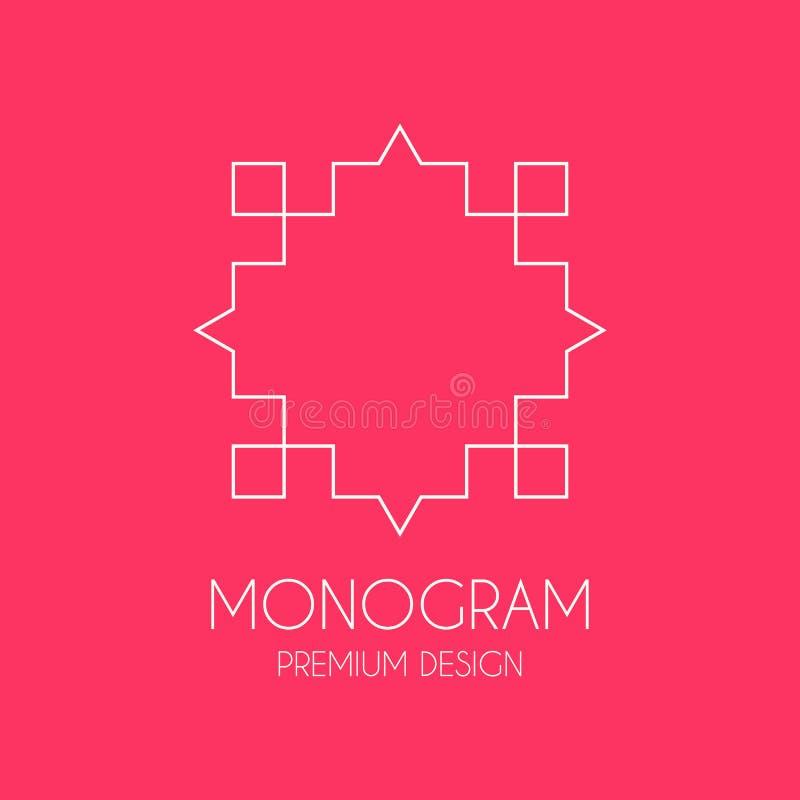 Modello semplice di progettazione del monogramma, linea elegante progettazione di logo di arte, illustrazione vettoriale