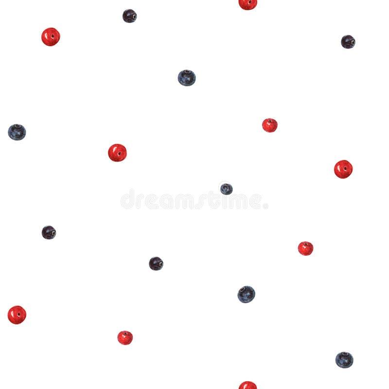 Modello semplice senza cuciture delle bacche dell'acquerello Modello del mirtillo rosso e del mirtillo Modello blu e rosso delle  illustrazione vettoriale