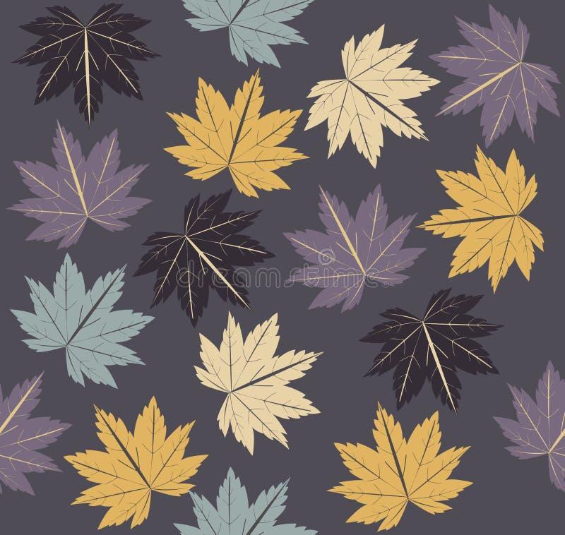 Modello senza cuciture alla moda con le foglie di acero di autunno fotografia stock libera da diritti