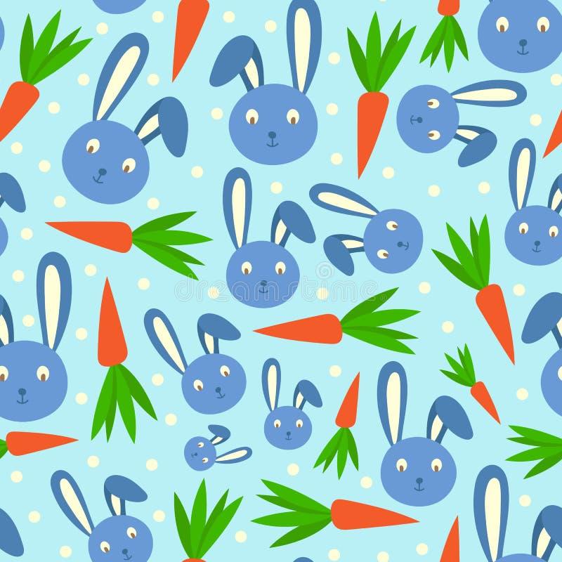 Modello senza cuciture allegro di festa del mammifero e della carota del coniglio del personaggio dei cartoni animati della testa illustrazione vettoriale