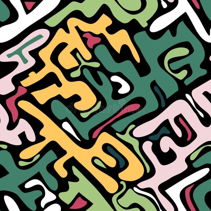 Modello senza cuciture astratto colorato nello stile dei graffiti illustrazione di vettore di qualità per la vostra progettazione illustrazione vettoriale
