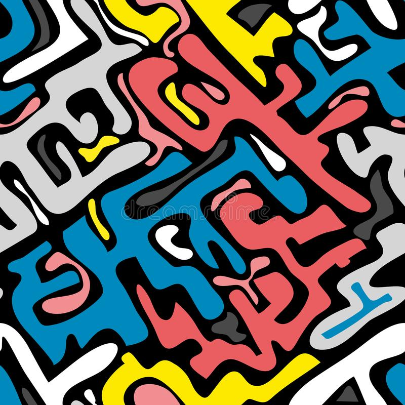 Modello senza cuciture astratto colorato nello stile dei graffiti illustrazione di vettore di qualità per la vostra progettazione illustrazione di stock