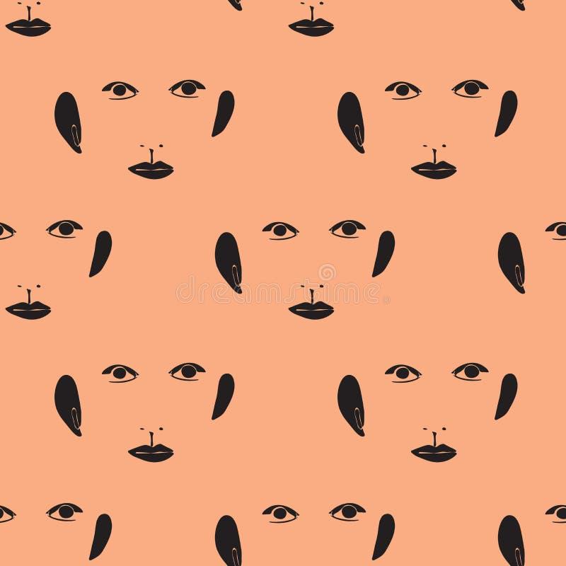 Modello senza cuciture astratto con gli occhi, le orecchie ed i nasi illustrazione vettoriale