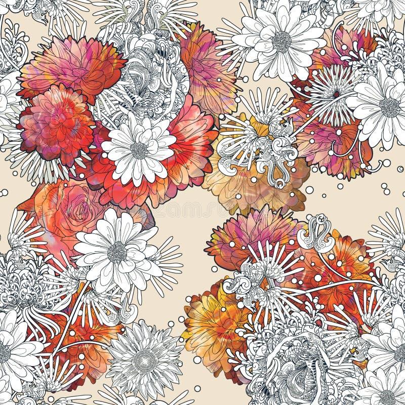 Modello senza cuciture astratto con i fiori variopinti su fondo beige illustrazione di stock