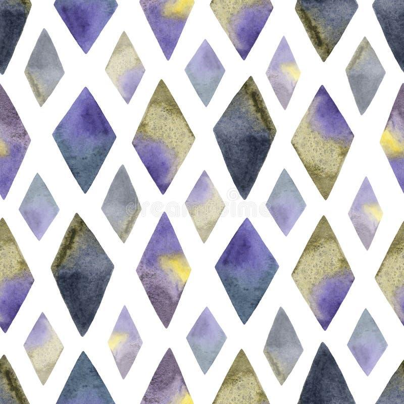 Modello senza cuciture astratto con il rombo dell'acquerello nei colori viola, gialli, blu e grigi Fondo dipinto a mano con geome fotografie stock