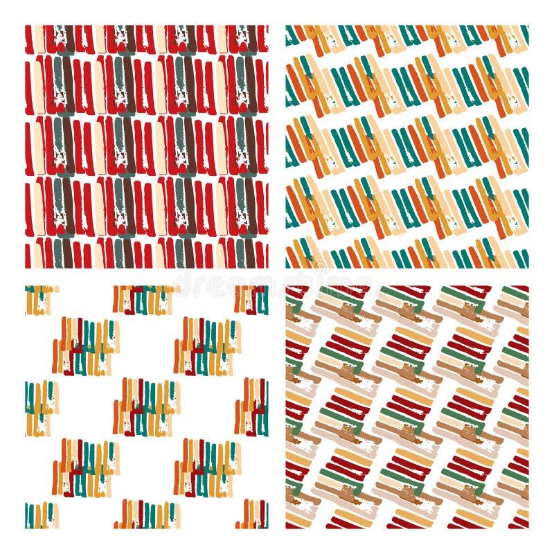 Modello senza cuciture astratto con le linee e le bande nella varietà di colori illustrazione di stock