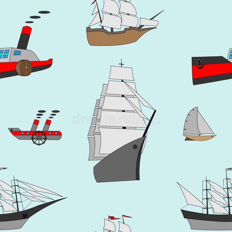 Modello senza cuciture astratto con le navi illustrazione di stock