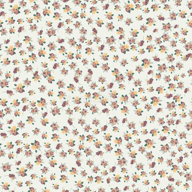 Modello senza cuciture astratto dei fiori semplici dipinti a mano svegli per il tessuto, tele, vestiti illustrazione di stock
