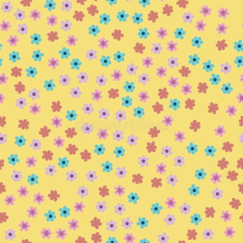 Modello senza cuciture astratto dei fiori su un fondo giallo Per le stampe, carte, inviti, compleanno, feste, partito, celebratio illustrazione di stock