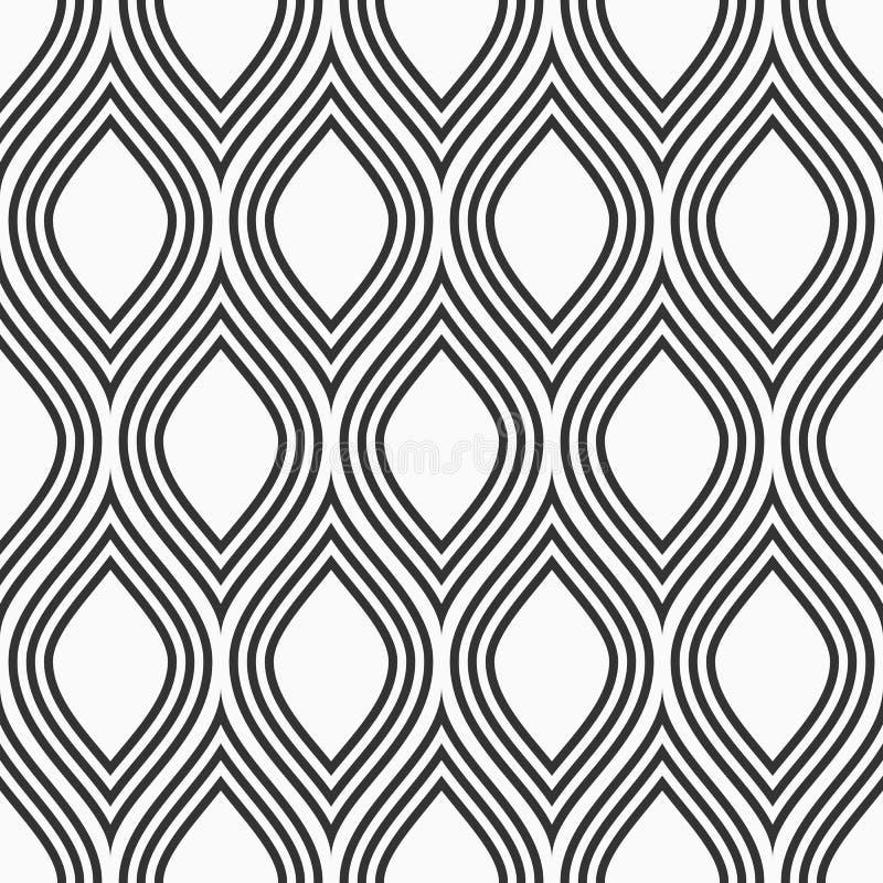 Modello senza cuciture astratto dei petali stilizzati Fondo di monocromio di vettore illustrazione di stock