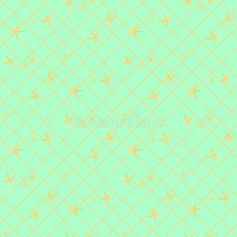 Modello senza cuciture astratto dell'oro e verde Il fondo di modo di art deco di vettore, la linea stagnola dell'oro ha struttura illustrazione di stock