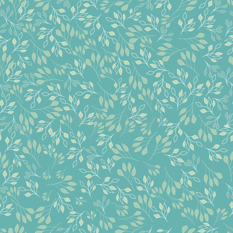 Modello senza cuciture astratto delle foglie semplici dipinte a mano sveglie per il tessuto illustrazione di stock