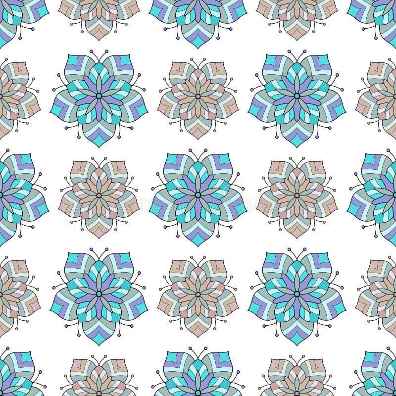 Modello senza cuciture astratto delle mattonelle del fiore illustrazione vettoriale