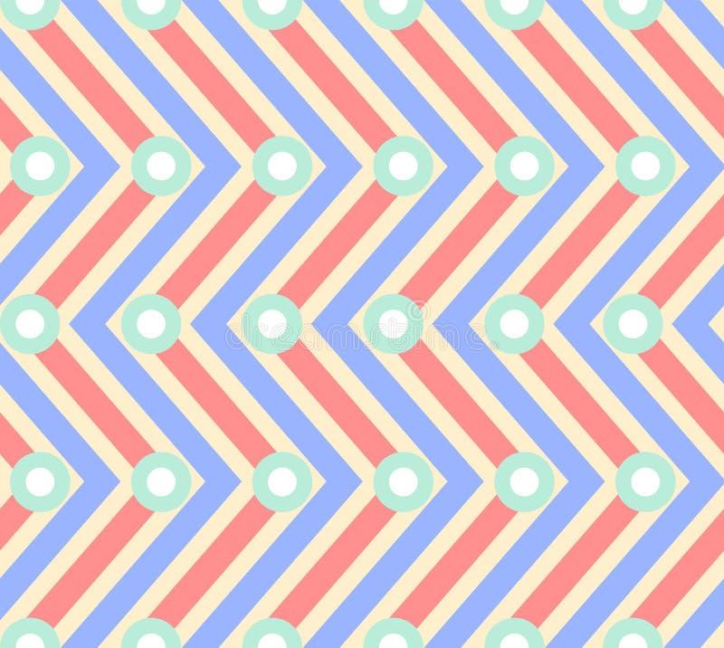 Modello senza cuciture astratto di zigzag blu e rosso illustrazione di stock