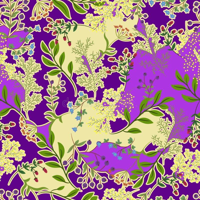 Modello senza cuciture astratto floreale di colore lilla e beige illustrazione vettoriale