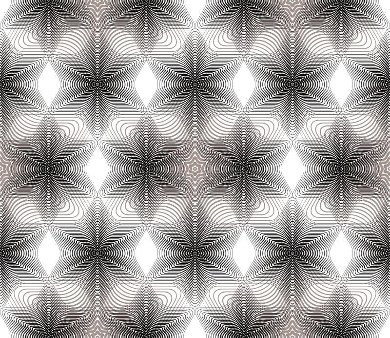 Modello senza cuciture astratto illusive grigio con geometr di sovrapposizione illustrazione di stock