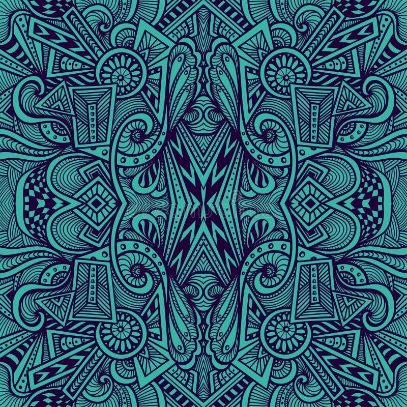 Modello senza cuciture astratto nello stile di groviglio di zen o di scarabocchio di zen in blu scuro illustrazione vettoriale