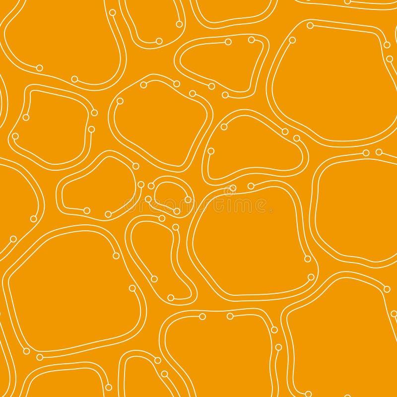 Modello senza cuciture astratto ordinato caotico arancio cellule organiche con le linee sottili royalty illustrazione gratis