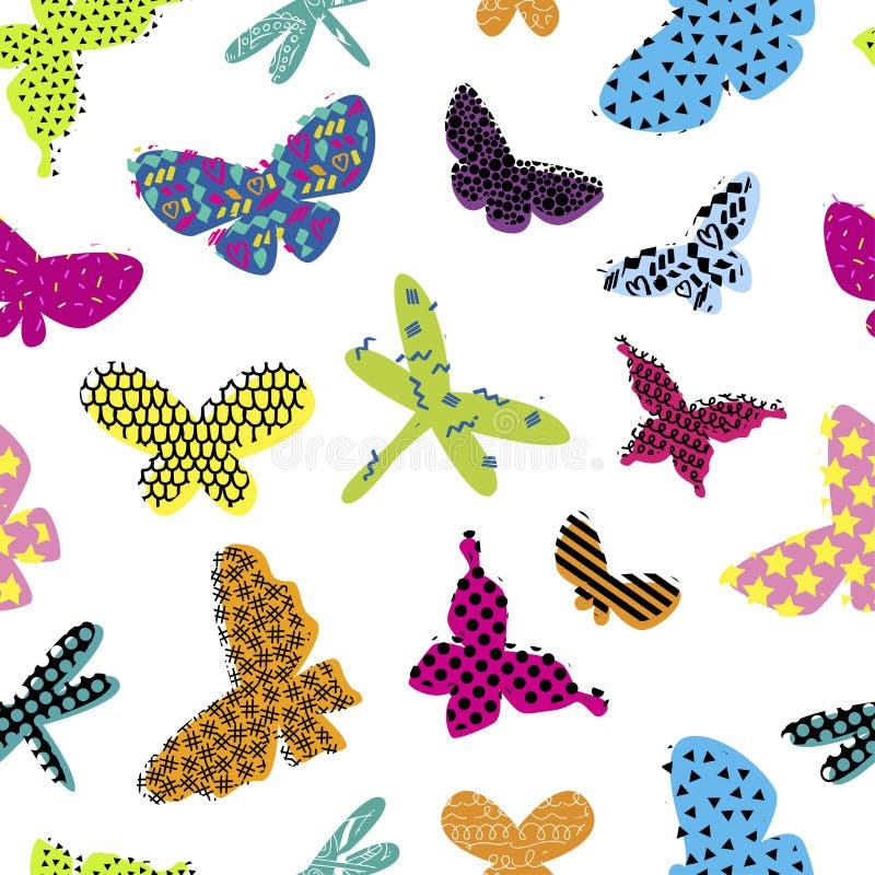 Modello senza cuciture astratto per i vestiti delle ragazze Fondo creativo con la farfalla Carta da parati divertente per il tess illustrazione vettoriale