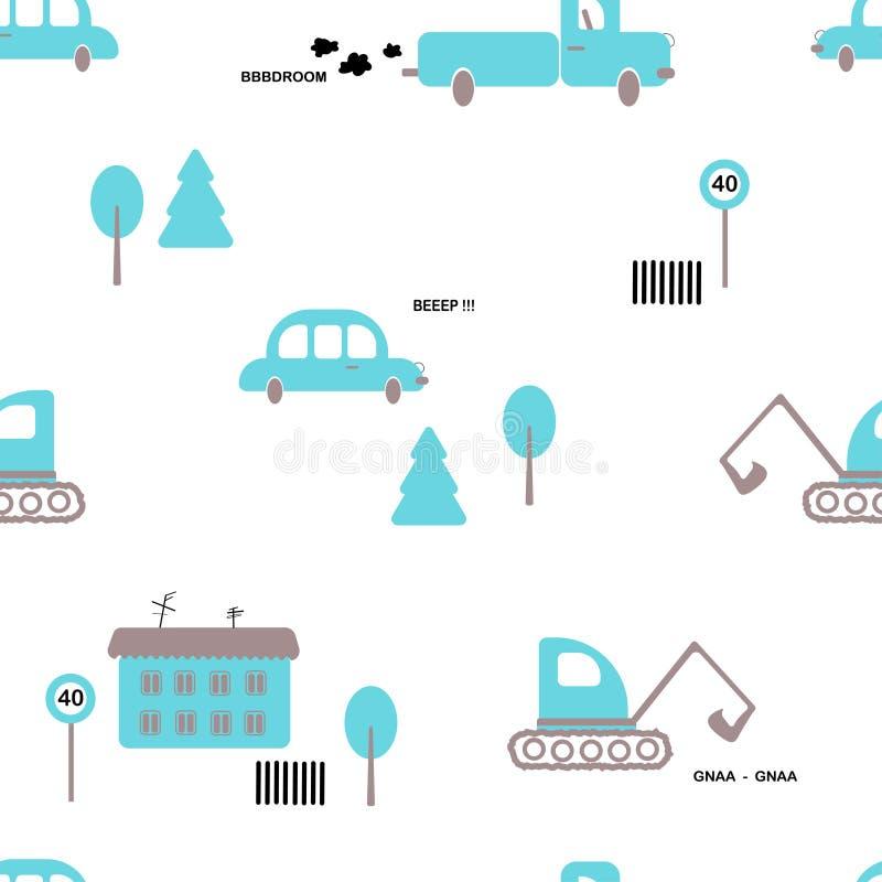 Modello senza cuciture: automobili, camion, escavatore, alberi, casa, segno su un fondo bianco Vettore piano royalty illustrazione gratis