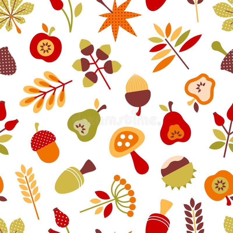 Modello senza cuciture Autumn Icons Red Green And differente Brown illustrazione vettoriale