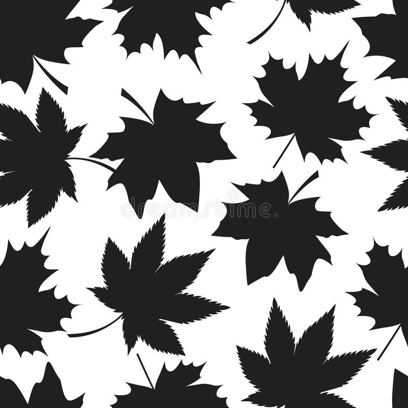 Modello senza cuciture Autumn Leaves Black Silhouettes illustrazione di stock