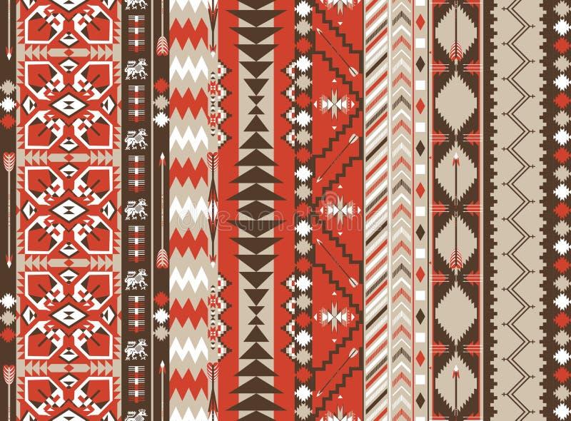 Modello senza cuciture azteco su colore caldo con la freccia royalty illustrazione gratis