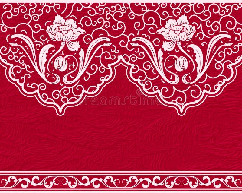 Modello senza cuciture basato su pittura cinese Fiori bianchi e foglie su un fondo rosso, cuoio artificiale royalty illustrazione gratis