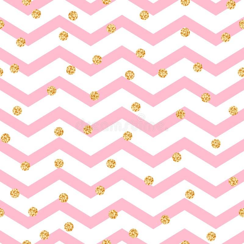Modello senza cuciture bianco di rosa di zigzag di Chevron e royalty illustrazione gratis