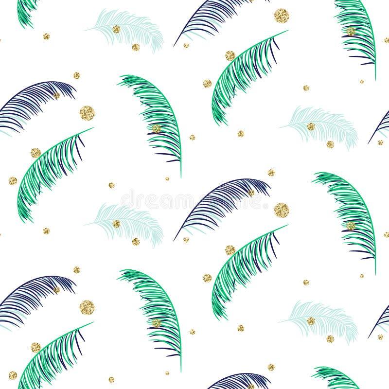 Modello senza cuciture bianco di vettore delle foglie di palma blu e verdi illustrazione di stock